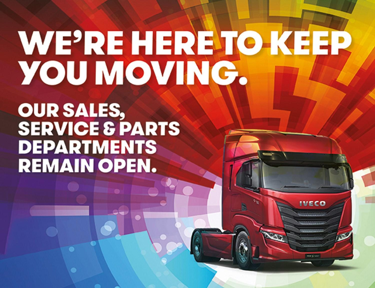 Our sales, service and parts departments remain open