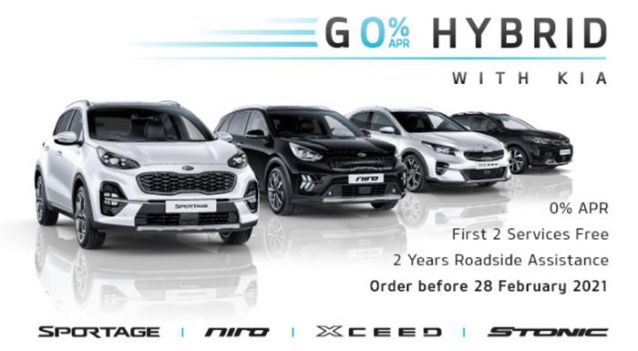 0% on Kia Hybrid vehicles until 28th February 2021
