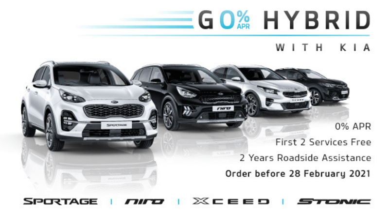 0% on Kia Hybrid vehicles until 28th February 2021