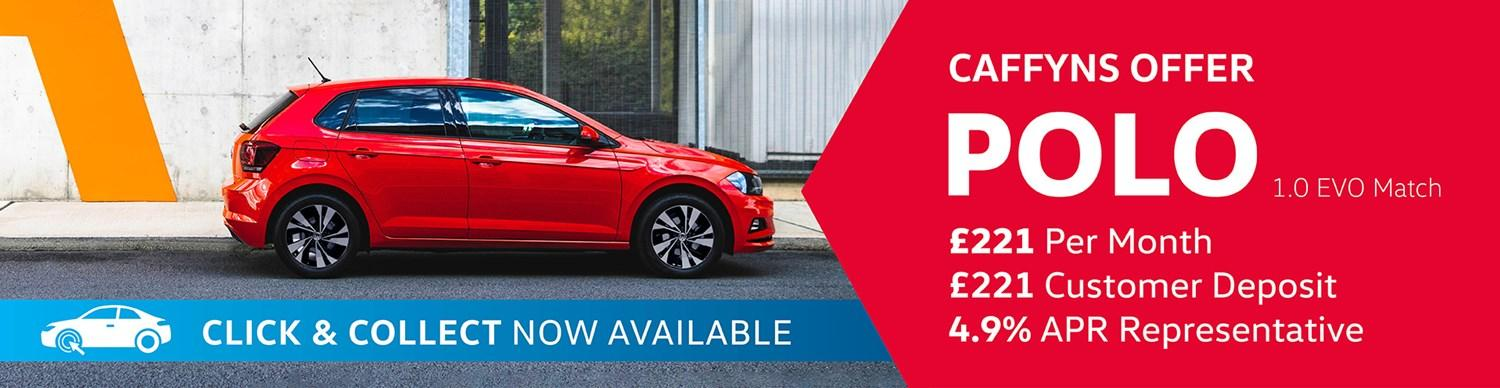 Volkswagen Polo from £221 per month with £221 customer deposit and 4.9% APR Representative