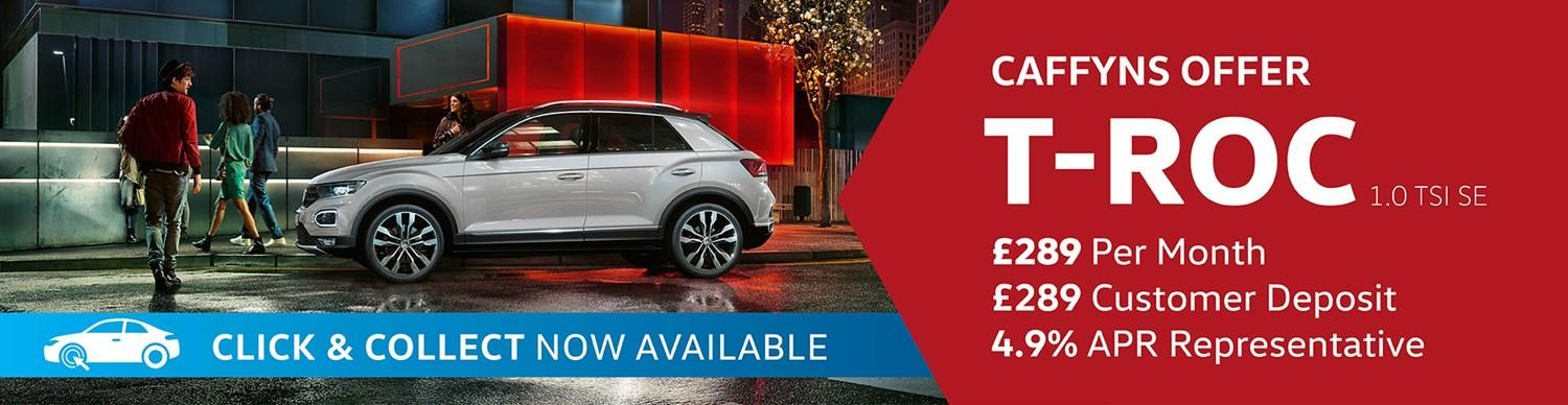 Volkswagen T-Roc from £289 per month with £289 customer deposit and 4.9% APR Representative