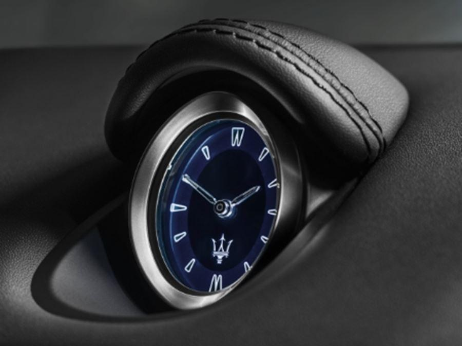 close up of maserati clock