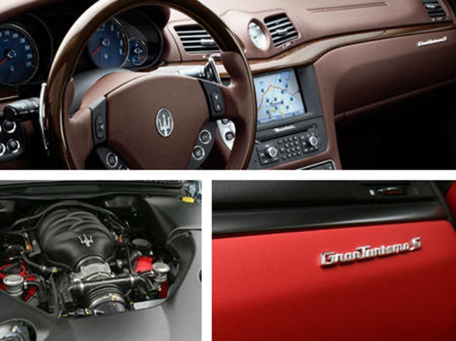 close up of maserati granturismo badge, engine and steering wheel