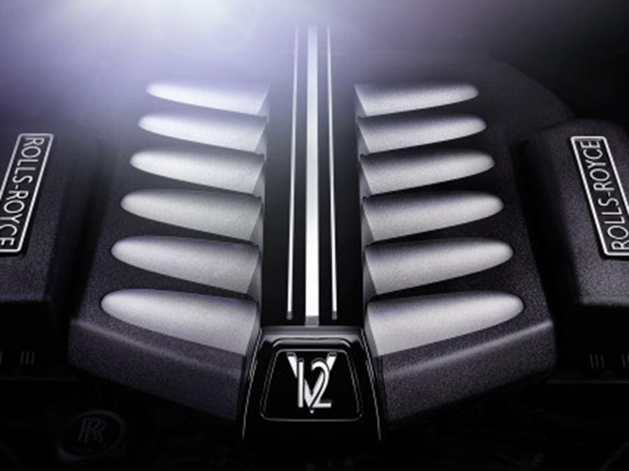 close up of rolls-royce v12 engine