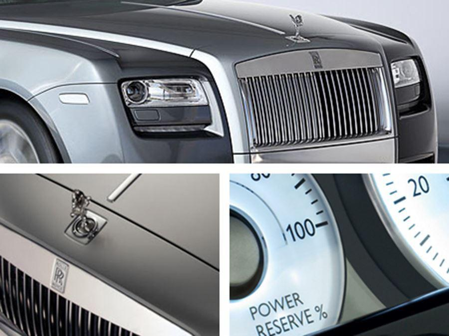 close up of front of rolls royce, speedometer and spirit of ecstasy