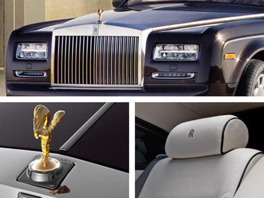 close of rolls-royce front, head rest and Spirit of Ecstasy