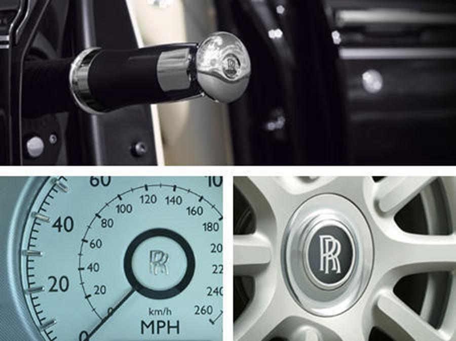 close up of rolls-royce alloy and speedometer