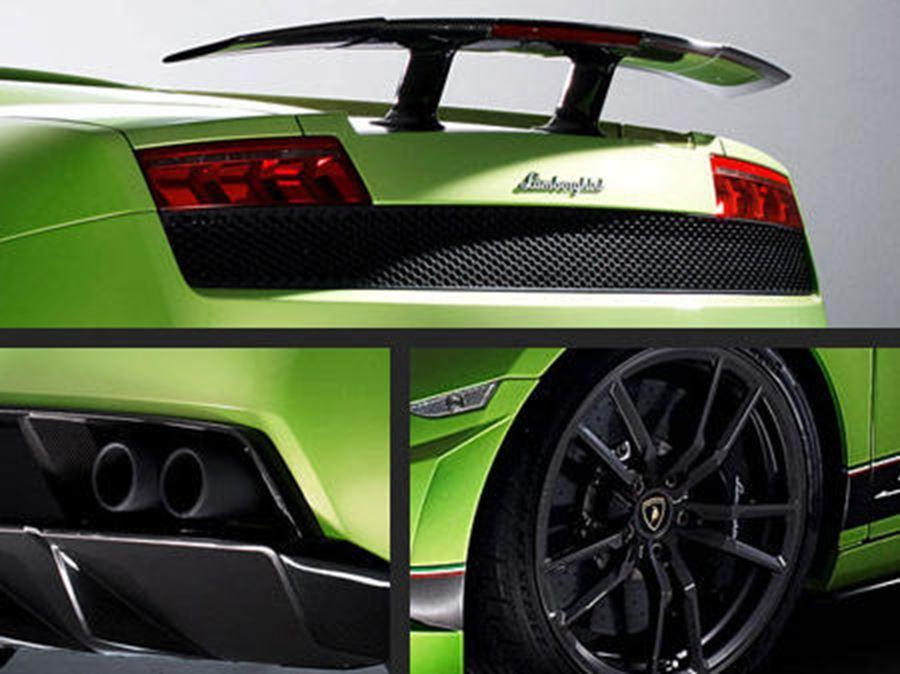 close up of lamborghini exhaust, alloy and back