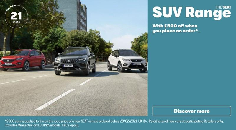 SEAT SUV range with up to £500 off
