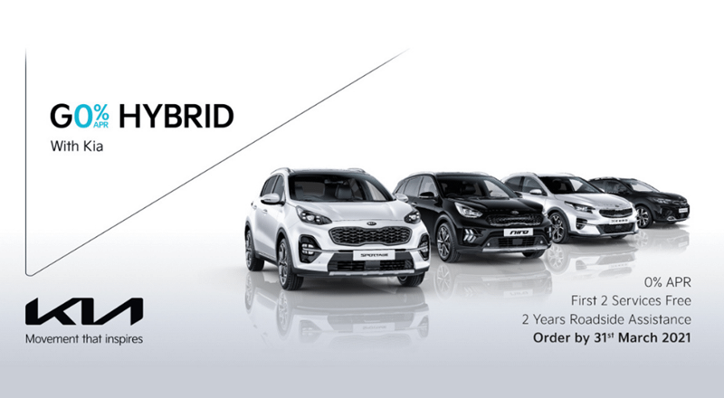 0% on KIA Hybrid vehicles until 31st March 2021