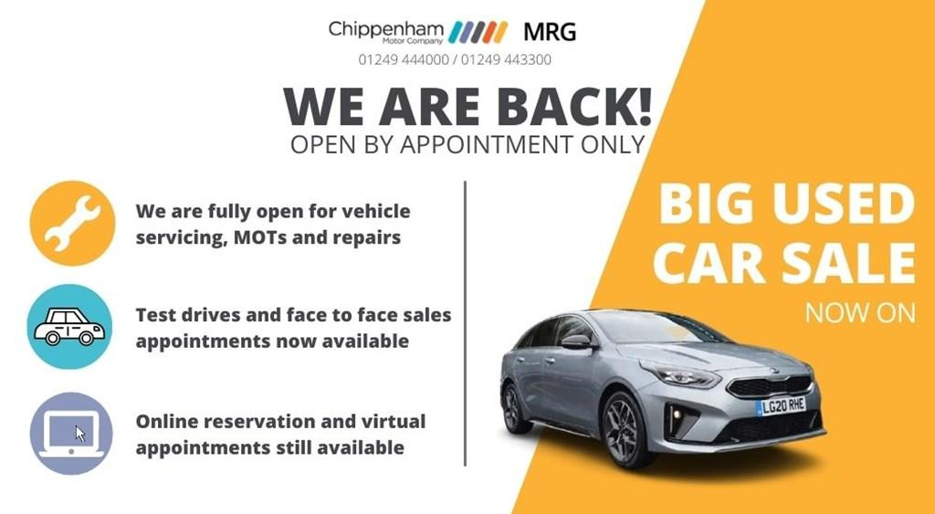 Chippenham Motor Company and MRG Ford are open again. Image shows text explaining our sales and service department are open again. One third of the image is yellow with a Big Used Car Sale Now On headline