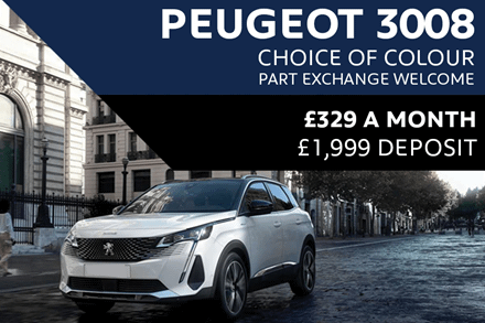 Peugeot 3008 SUV - Only £329 A Month With £1,999 Deposit