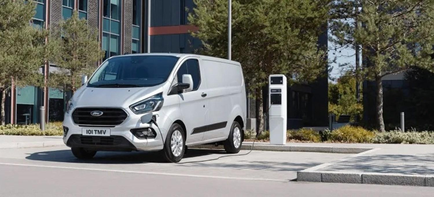 Ford Transit Custom parked and charging