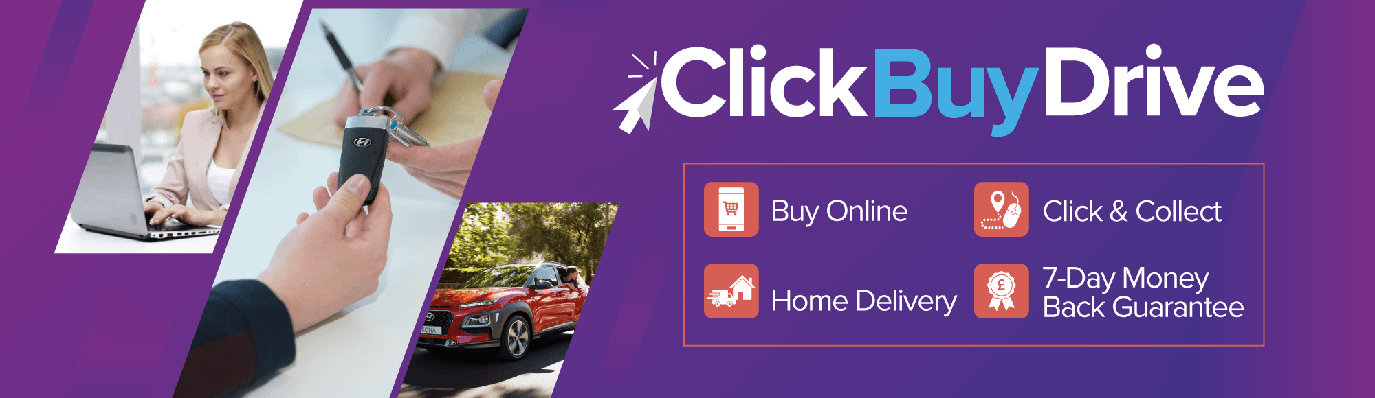 Newmans Click, Buy, Drive Banner