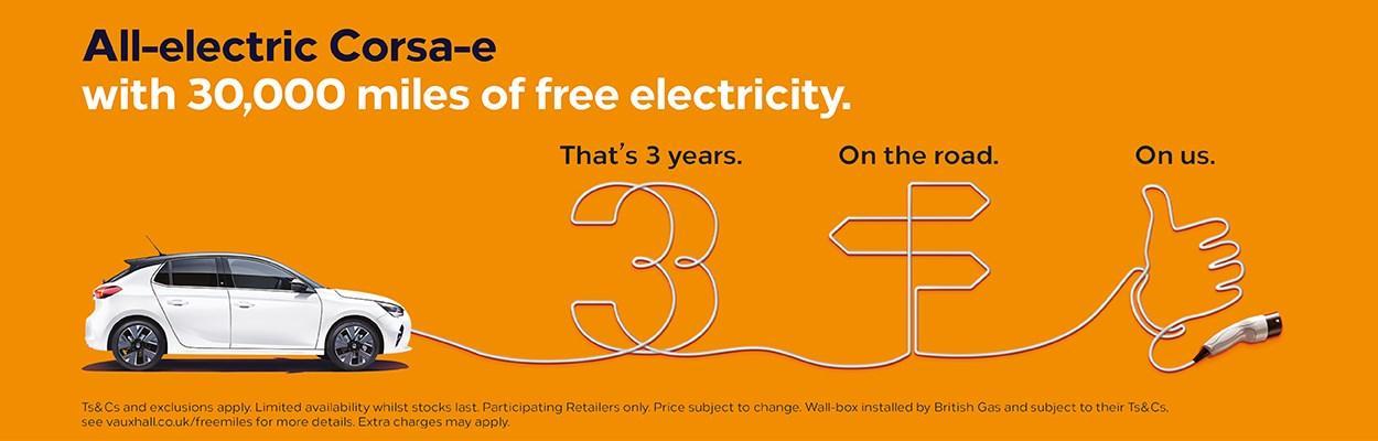 Corsa-e 30,000 miles of free electricity