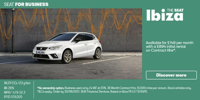 SEAT Ibiza from £149 per month for Business Users