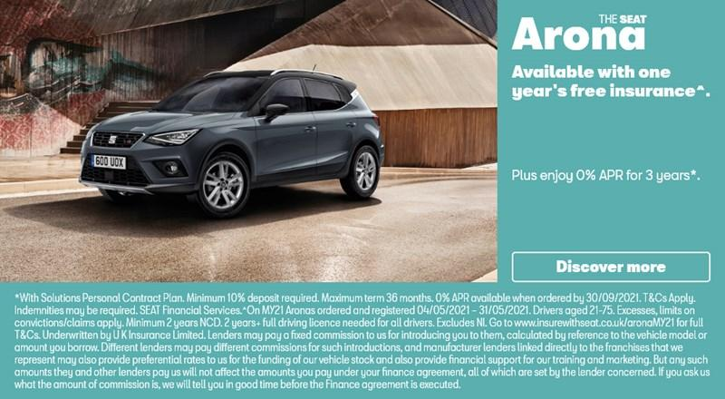 SEAT Arona with 1 year free Insurance