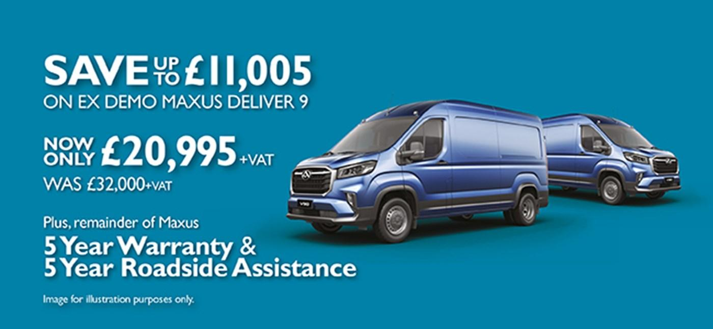 Save up to £11,005 on Ex Demo Maxus Deliver 9