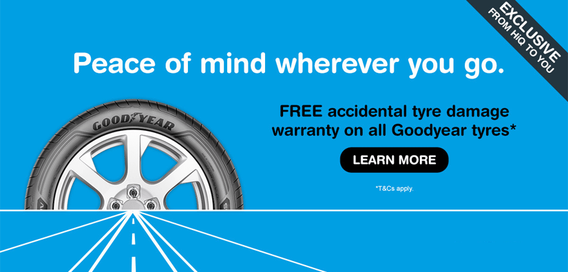 Free Goodyear Accidental Tyre Damage Warranty!