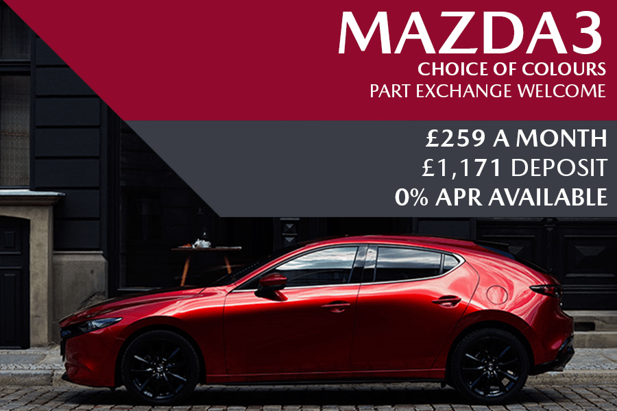 All-New Mazda3 - Now Available For £259 A Month With £1,171 Deposit And 0% Finance Options Also Available