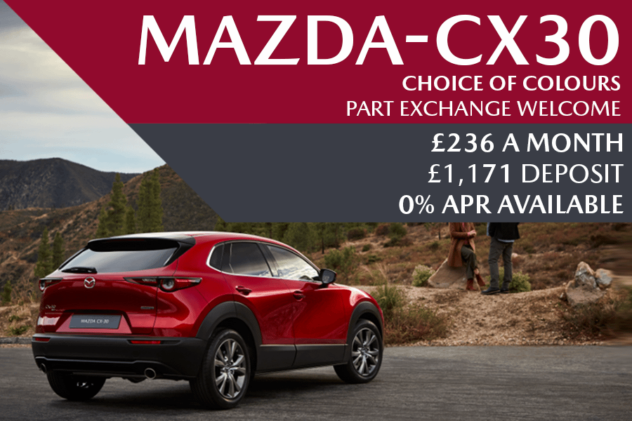 All-New Mazda CX-30 - Now Available For £236 A Month With £1,171 Deposit And 0% Finance Available