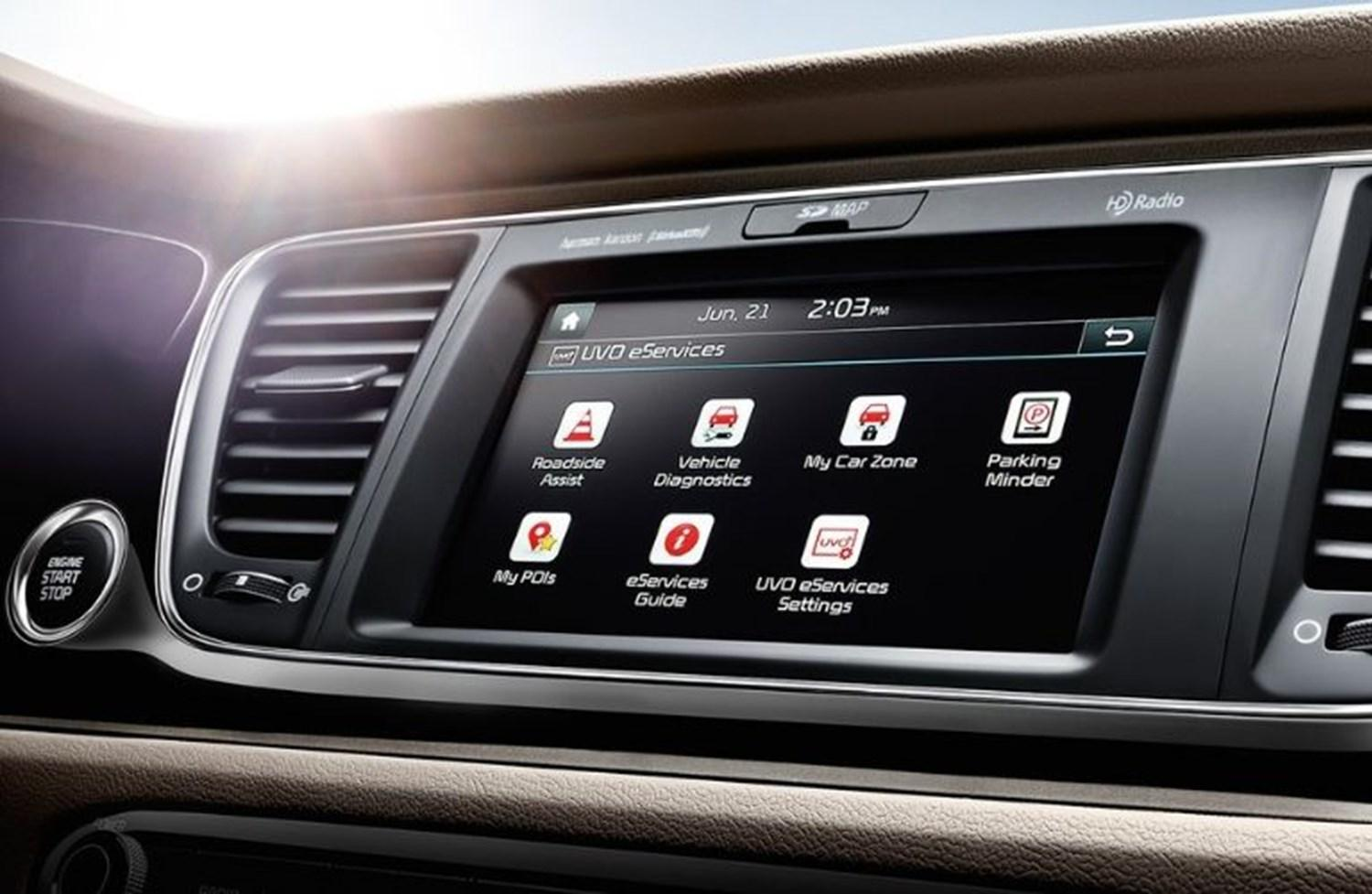 Interior view of an infotainment system featuring Kia UVO