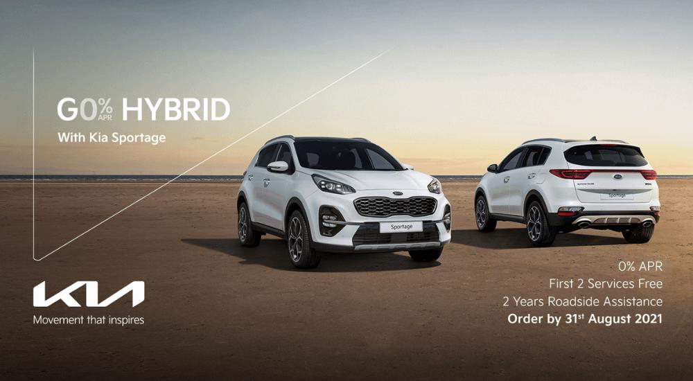 White Kia sportage Hybrid with 0% offer