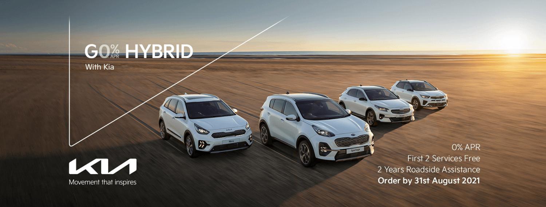 Kia Niro Hybrid, Kia Sportage Hybrid, Kia XCeed Hybrid and Kia Stonic Hybrid with 0% APR offer