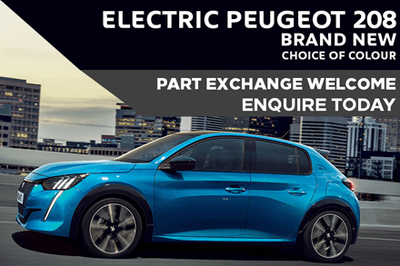 Electric Peugeot 208 £259 A Month With £3,293 Initial Rental