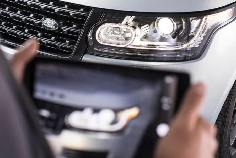 Close up of Land Rover through iPad