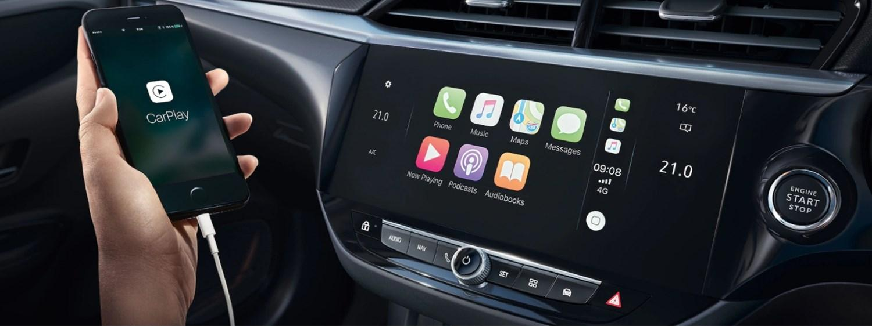 Interior view of a Corsa-e showcasing the CarPlay feature