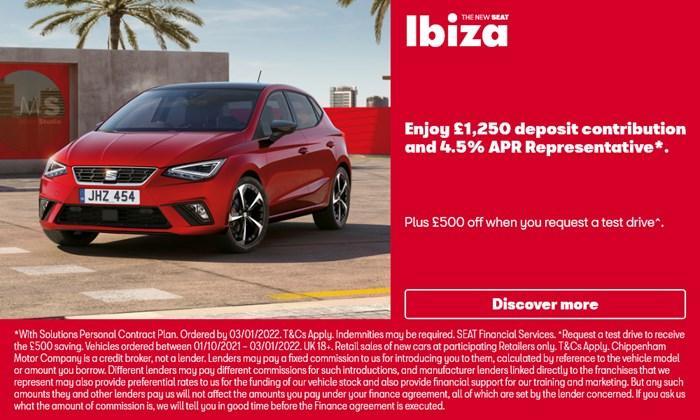 SEAT Ibiza with £1250 deposit contribution
